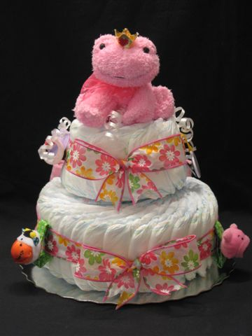 2 tiered Welcome Home Diaper Cake by Blooming Bundles